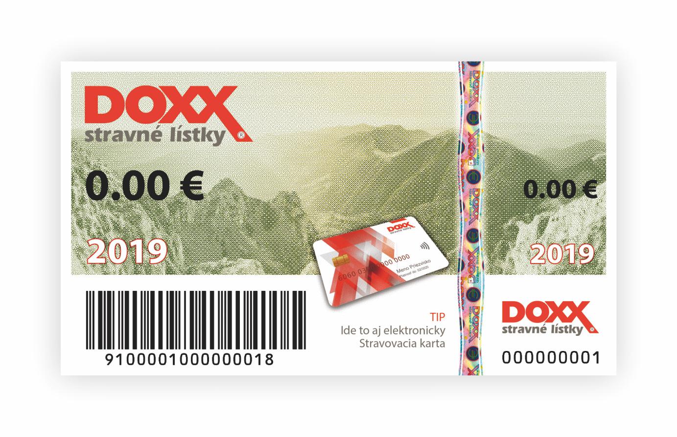 Stravný lístok DOXX na rok 2019