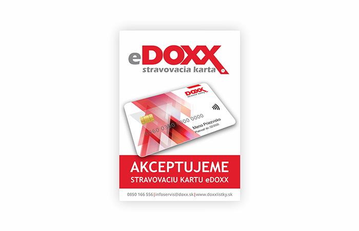 Označenie prevádzok, kde platia e-Stravné lístky na Karte DOXX