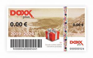 Benefitná darčeková poukážka DOXX Plus_2019-2020_predná strana