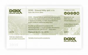 Stravný lístok DOXX_Emisia 2019_zadná strana