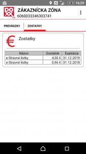 Aplikácia eDOXX (Android) ukazuje zostatok na stravovacej karte
