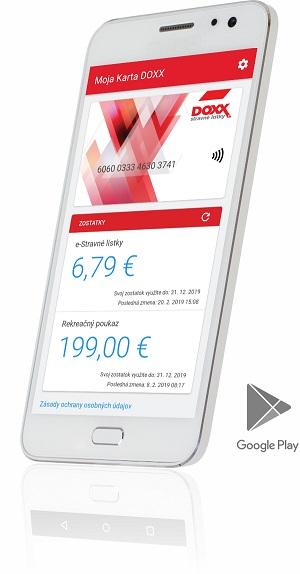 Mobilná aplikácia Moja karta v mobile je virtuálna kópia fyzickej Karty DOXX