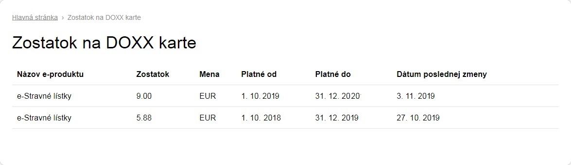 DOXX elektronicke stravne listky emisia 2019 2020 karta web - Nezabudnite minúť e-Stravné lístky do konca roka 2019