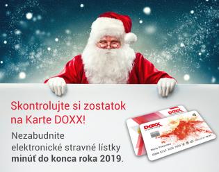 Zostatok elektronickych stravnych listkov na Karte DOXX 2019 - Úvodná stránka
