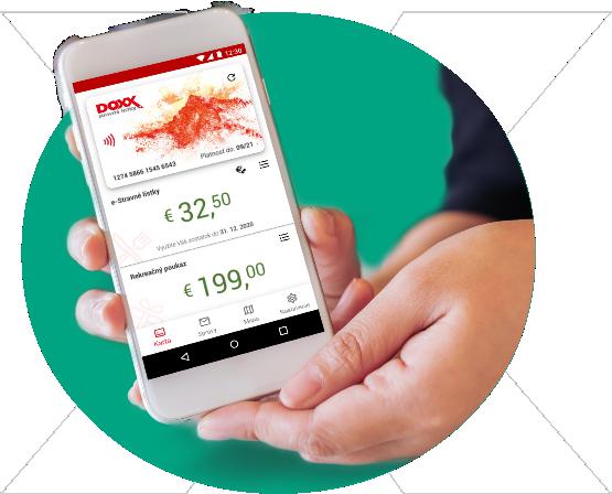 Unikátna multifunkčná karta aj ako aplikácia   DOXX - Stravné lístky